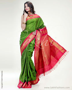 SR-0876 - Green & Pink Pure Silk  Saree