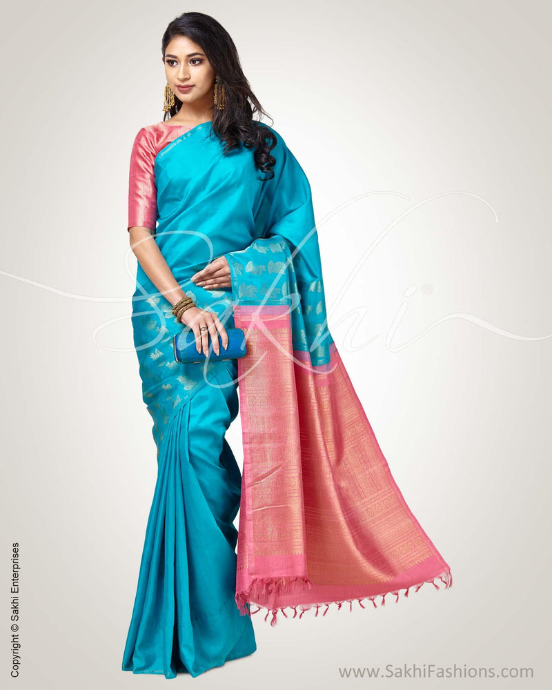 SR-0880 - Blue & Pink Pure Kanchivaram Silk Saree