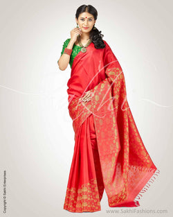 SR-0889 -Red & green pure Kanchivaram silk saree