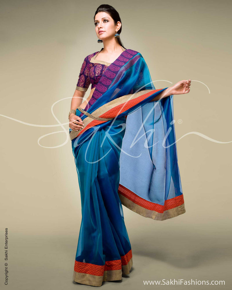 SR-0123 - Blue & Red Organza Saree