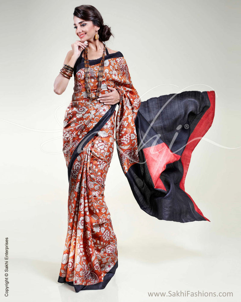 SR-0323 Orange & Red Tussar Silk Saree