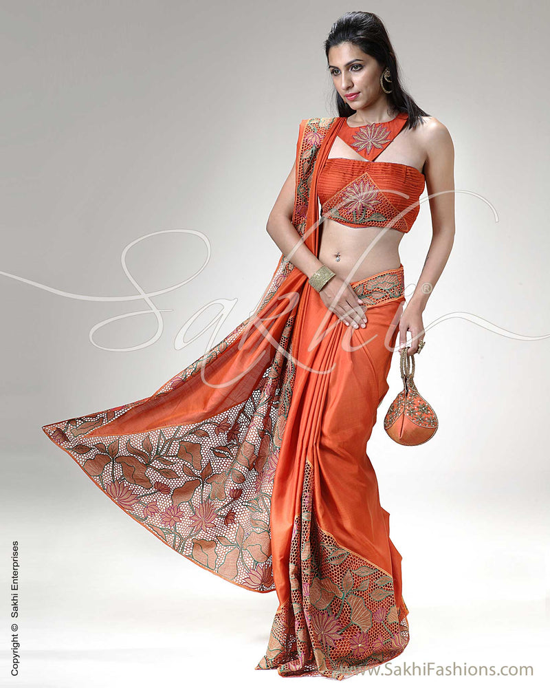 SR-0320 Orange & Multi Colour Kanchivaram Silk Saree