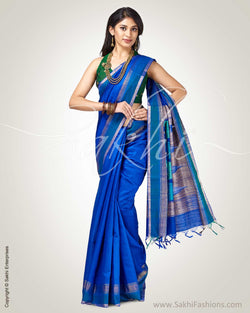 SR-0890 - Blue pure Raw silk saree