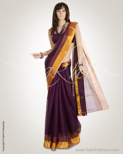 Purple & Gold Pure Silk Kota Saree