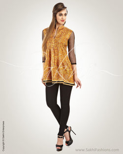 WW-0021 - Mustard & Black Pure Silk Top