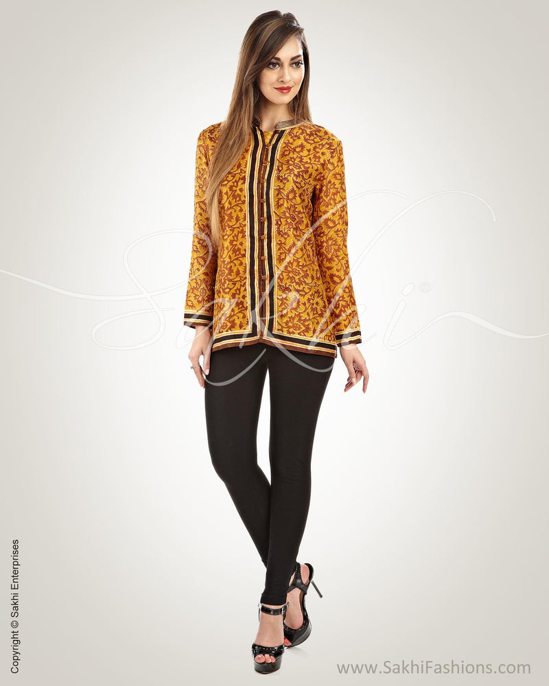 WW-0022 - Mustard & Black Pure Silk Jacket