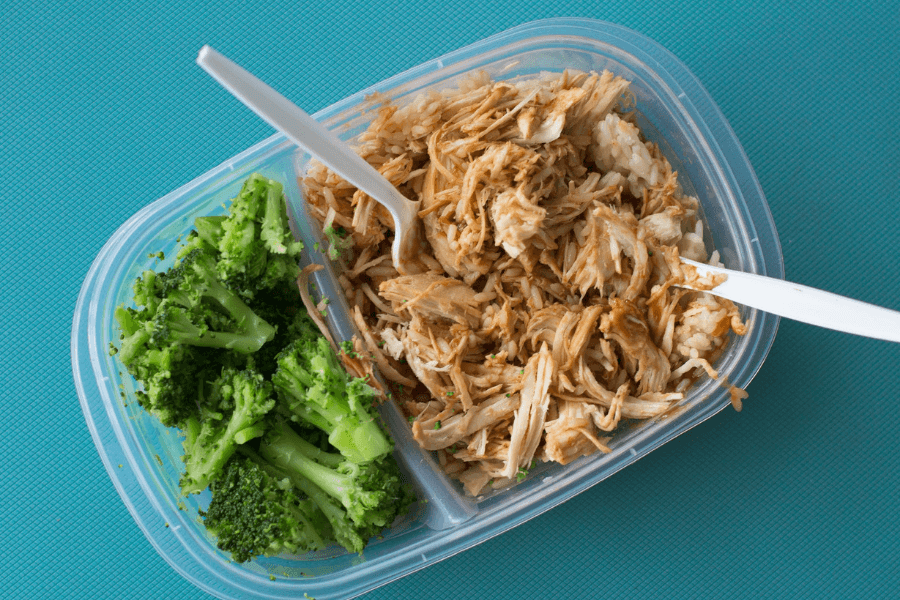 Shredded Chicken and Broccoli in Tupperware. Try to avoid toxic Tupperware when you go back to school.