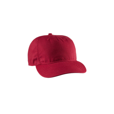 Eco-Friendly Twill 5-Panel Unstructured Hat Red