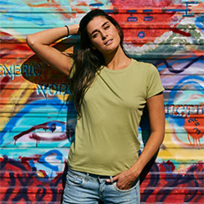 Eco-Friendly Women's T-Shirt Green Model