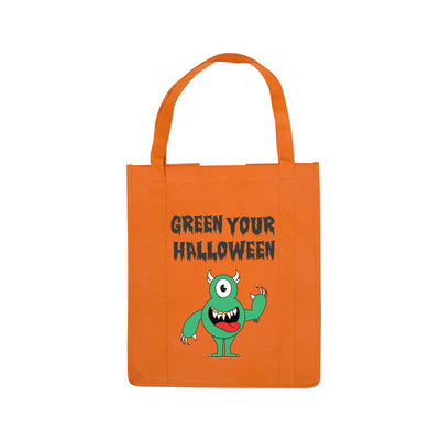 Personalized Halloween Shopping Bag Orange Monster