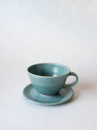Wheel-thrown Teacup and saucer teal