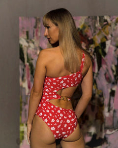 Red Flower Print One Shoulder Swimsuit