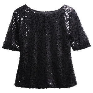 Half Sleeve Parkle Glitter Crop Top