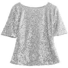 Load image into Gallery viewer, Half Sleeve Parkle Glitter Crop Top