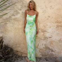 Load image into Gallery viewer, Neon Satin Long Midi Dress