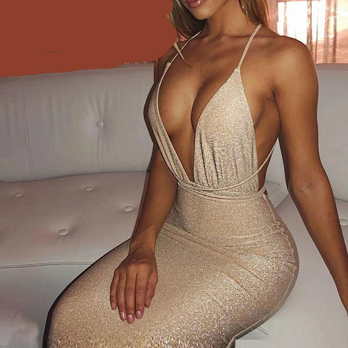 Sexy Backless Lace-up Plunge V Club Halter Dress