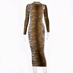 Leopard Print Long Sleeve Slim Dress