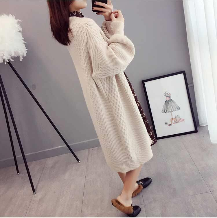 V-Neck Lantern Sleeve Knitted Coat
