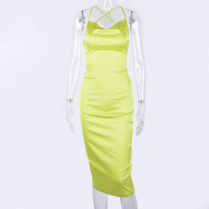 Neon Satin Long Midi Dress