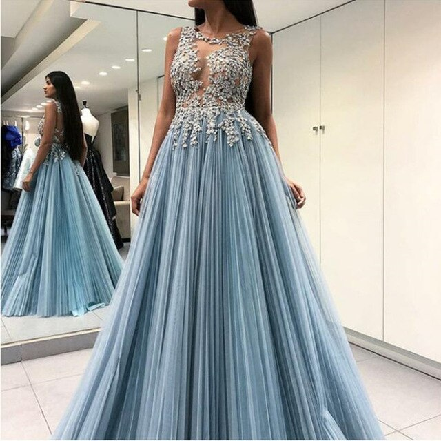 Sky Blue Women Long Evening Formal Dress