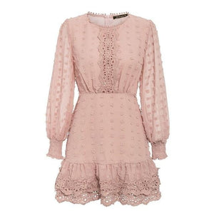 Long Lantern Sleeve Lace Dress