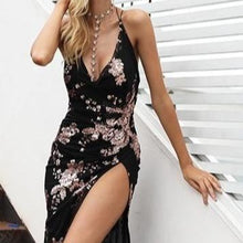 Load image into Gallery viewer, Lace Up Halter Sequin Party Dress