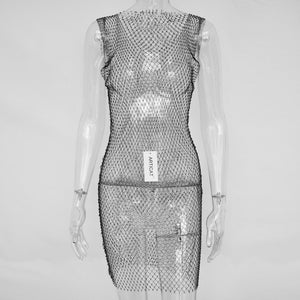 Crystal Diamond Mesh Dress
