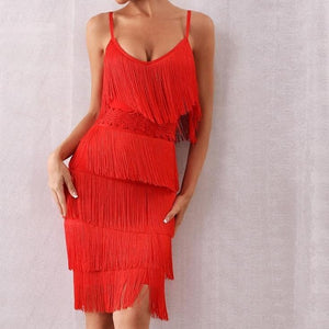 V Neck Tassel Club Dress