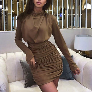 Pleated Turtleneck Mini Dress