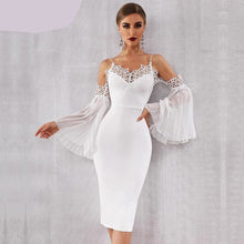 Load image into Gallery viewer, Flared Sleeve White Lace Midi Dress