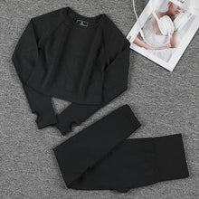 Load image into Gallery viewer, 2pcs Long Sleeve Seamless Workout Suit
