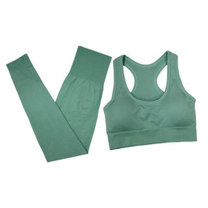 Breathable Solid Vest + Pants Fitness Set