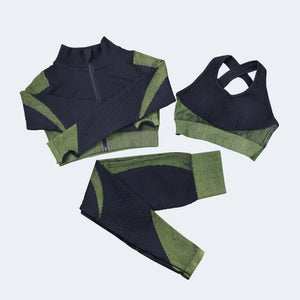 3pce Long Sleeve Seamless Yoga Suit