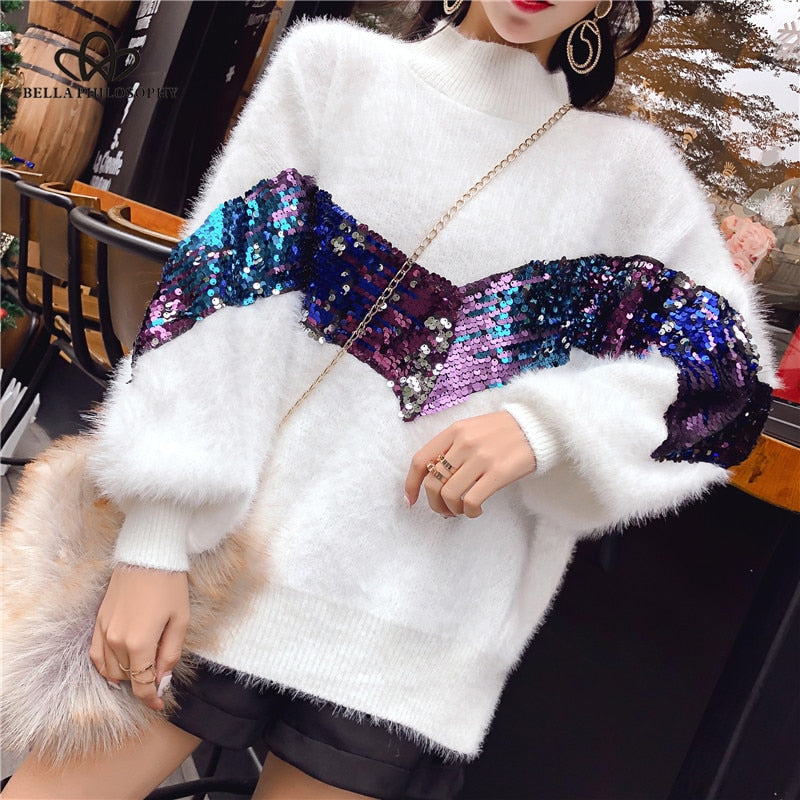 Sequined Mohair Knitted Jumper