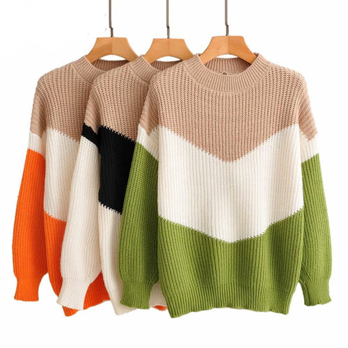 Casual V Shape Color Sweater