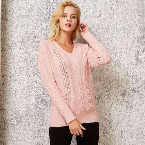 Solid Twist V Neck Knitted Sweater