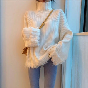 Tassel Long Sleeve High Collar Pullover