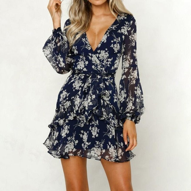 Floral Leaf Printed Lantern Sleeve Empire Dress