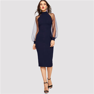 Party Mesh Lantern Long Sleeve Solid Dress