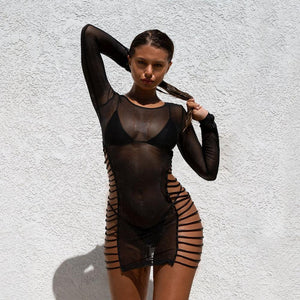 Fishnet See Through Mini Dress