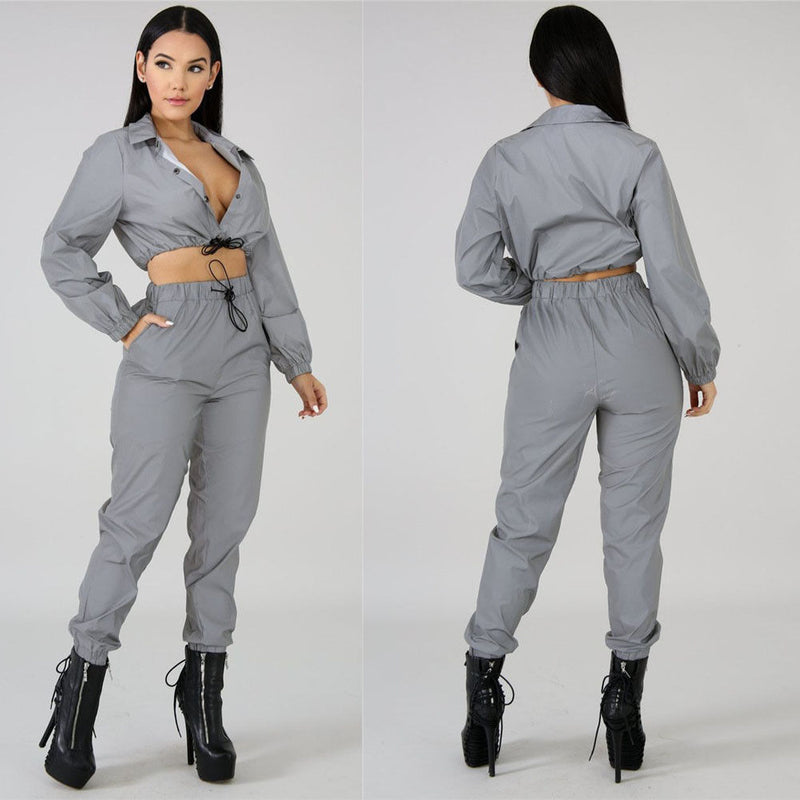 Reflective Crop Top and Pant Set