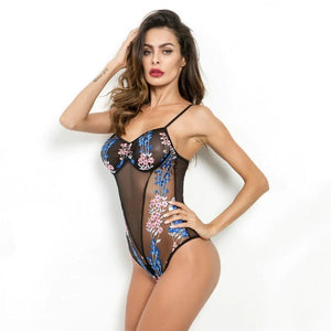 Lace Bodysuit With Floral Embroidery