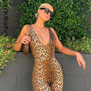 Sexy Deep V-Neck Sleeveless Leopard Rompers