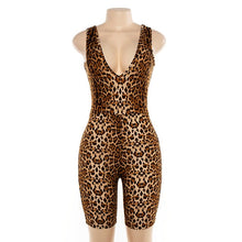 Load image into Gallery viewer, Sexy Deep V-Neck Sleeveless Leopard Rompers