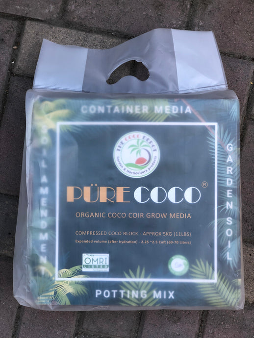 Pure Coco® Organic Coco Coir compressed 11lbs block Individually packaged