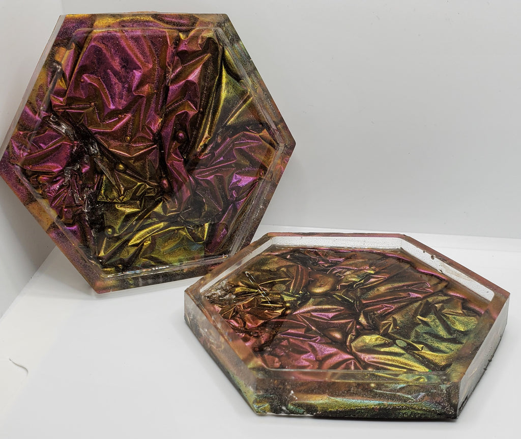 Crushed Velvet Resin Coasters (2 piece set)