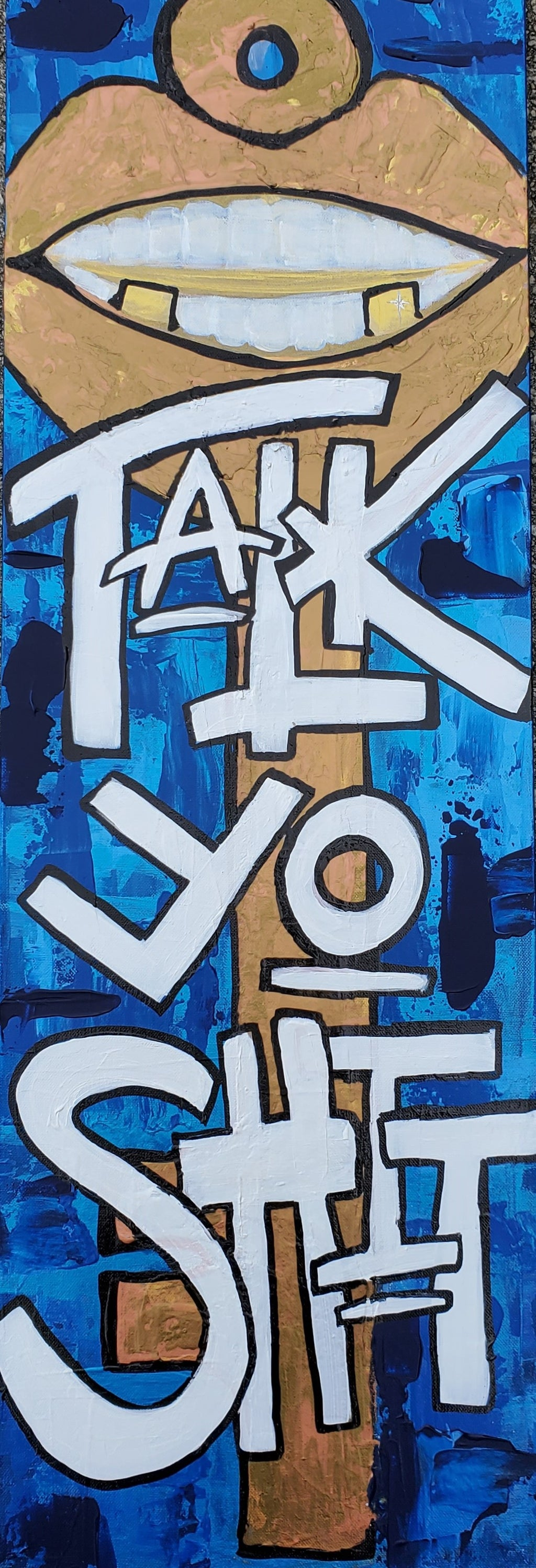 Talk Yo Shit 12x36 Throat Chakra Original Art