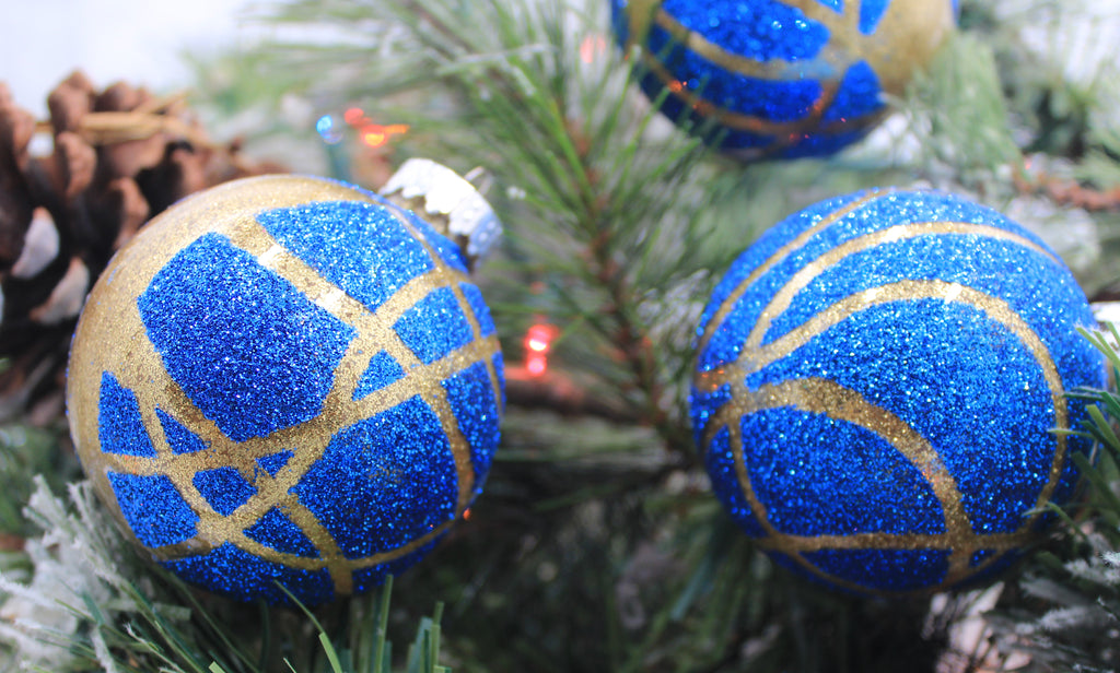 The Blue and Gold Collection Hand painted glitter ornaments
