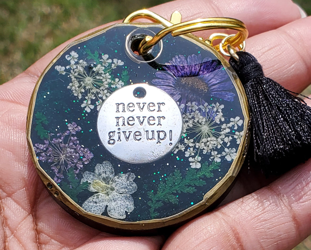 Never Give Up Resin Keychain (small)