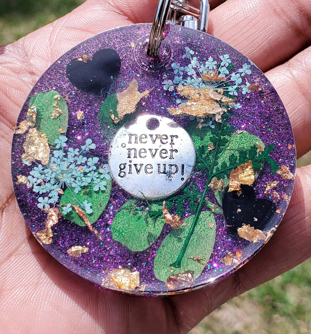 Never Give Up Resin Keychain (Large)